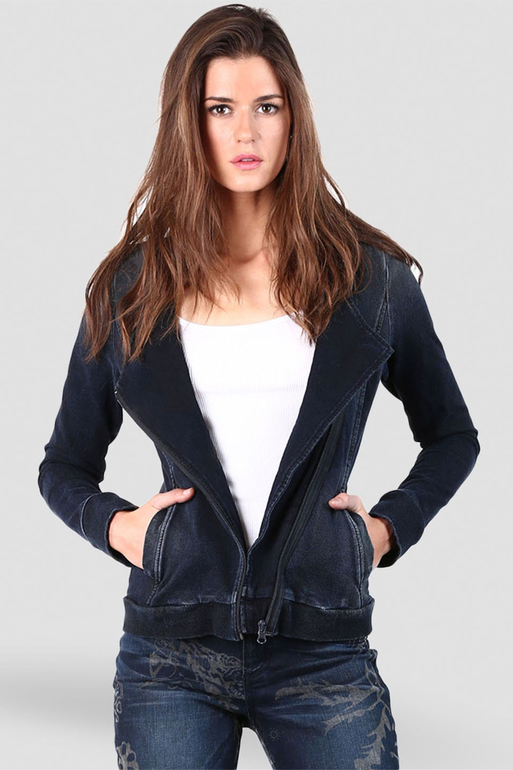 Women Denim Zip Front Jacket