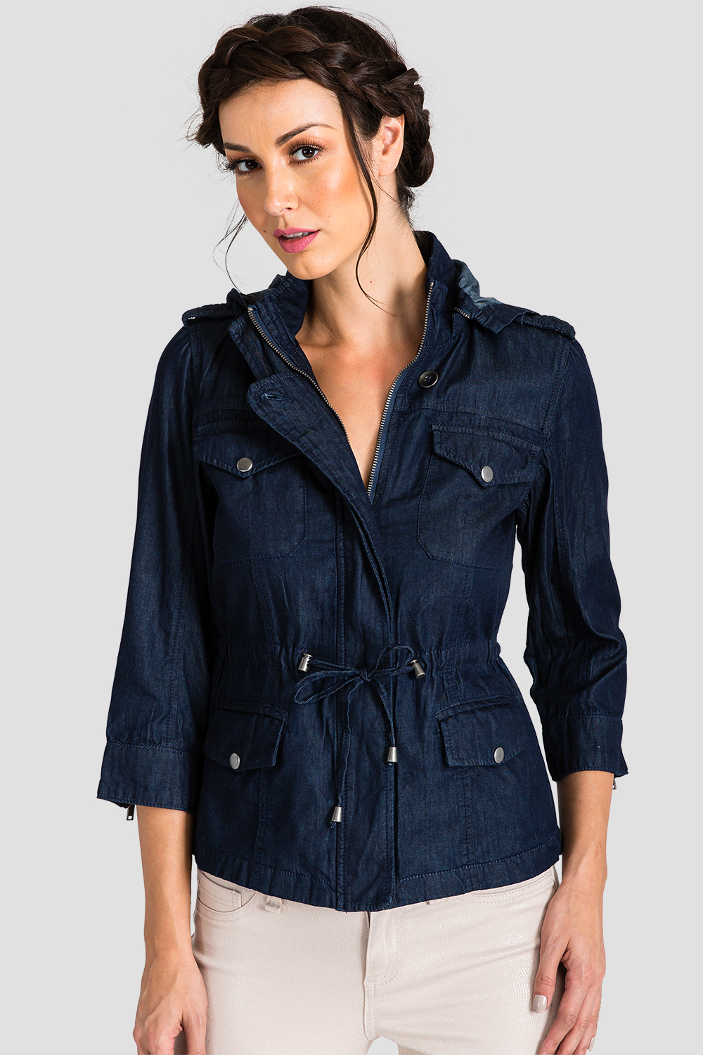 Women Chambray Tencel Anorak Jacket