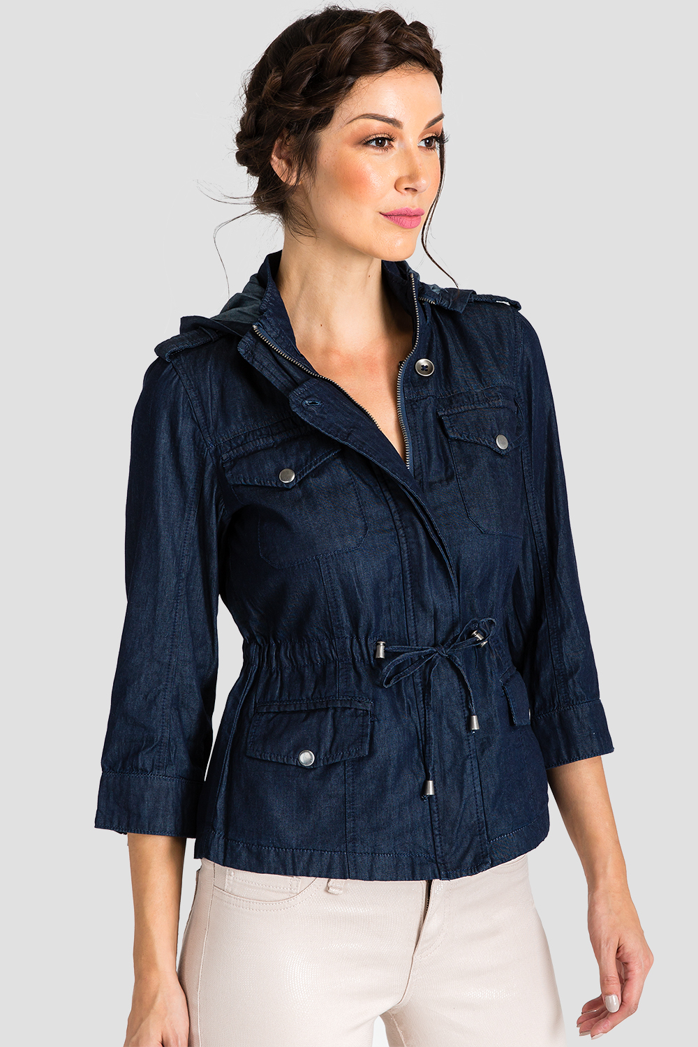 Women Chambray Denim Anorak Jacket
