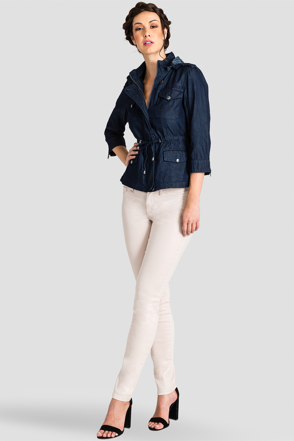 Women Tencel Denim Anorak Jacket