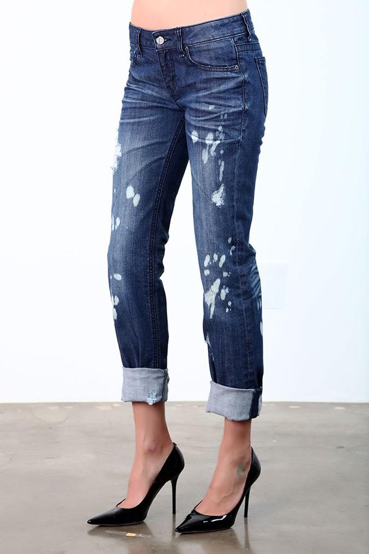Women Bleach Destroyed Skinny Jeans