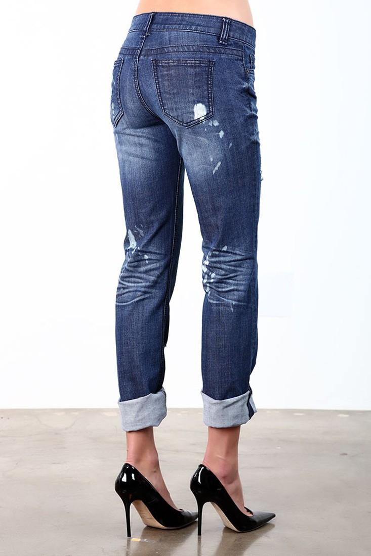 Women Bleach Destroyed Boyfriend Jeans