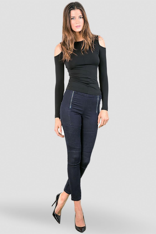 Women Indigo Moto Skinny Jeans