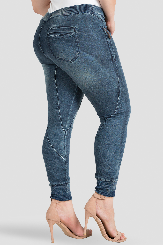 Plus Size Women Indigo Knit Denim Jogger Pants