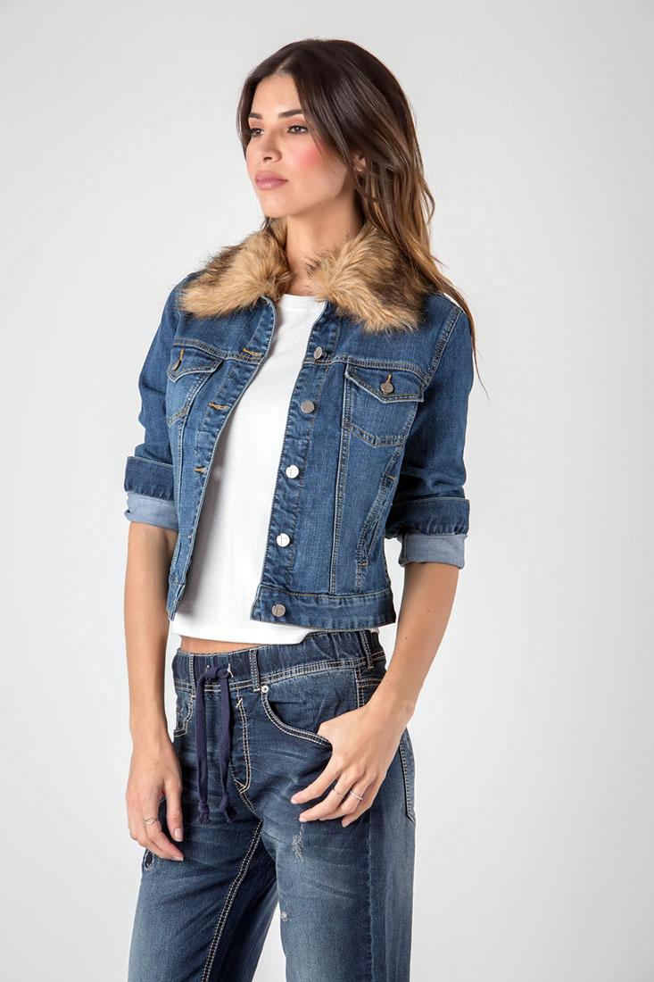 Standards & Practices Contemporary Women Faux Fur Collar Denim Jacket