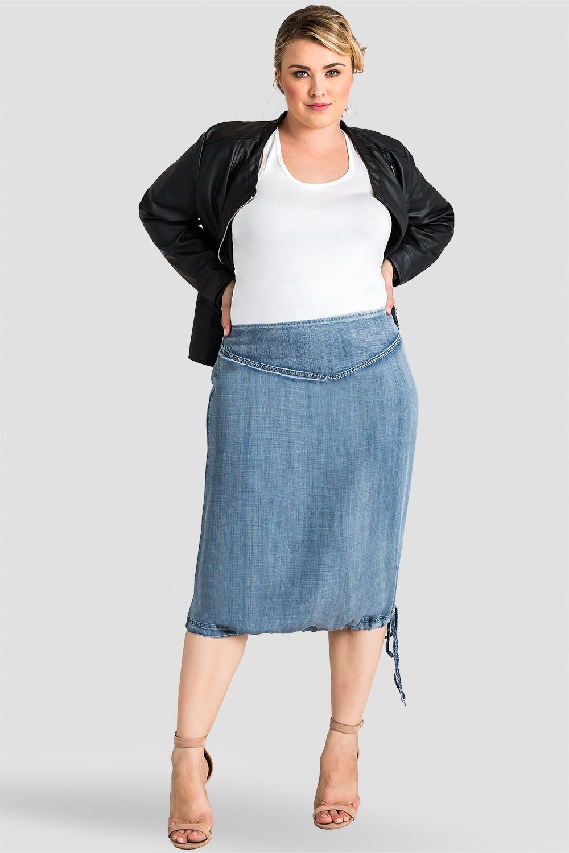 Plus Size Women Tencel Denim Midi Skirt