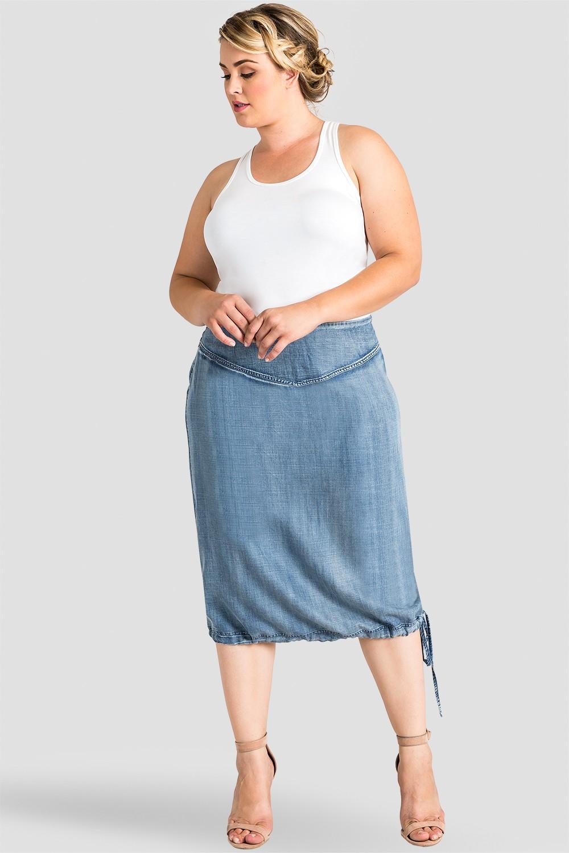 Plus Size Women Tencel Denim Skirt