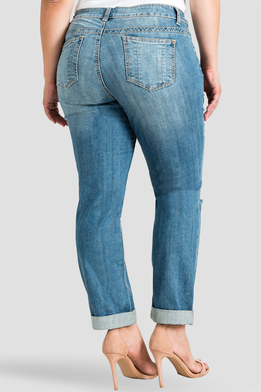 Plus Size Women Distressed Boyfriend Jeans