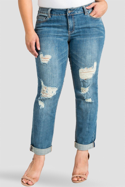 Plus Size Women Ripped Boyfriend Jeans