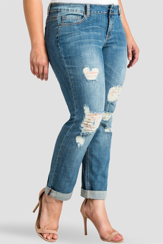 Plus Size Women Destroyed Boyfriend Jeans