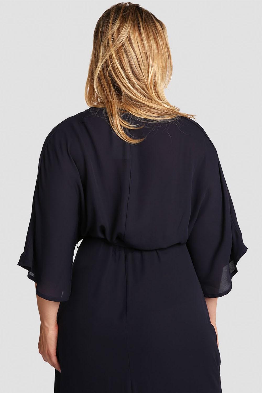 Plus Size Women's Wrap Dress (Midnight Blue) w/ Kimono Sleeve