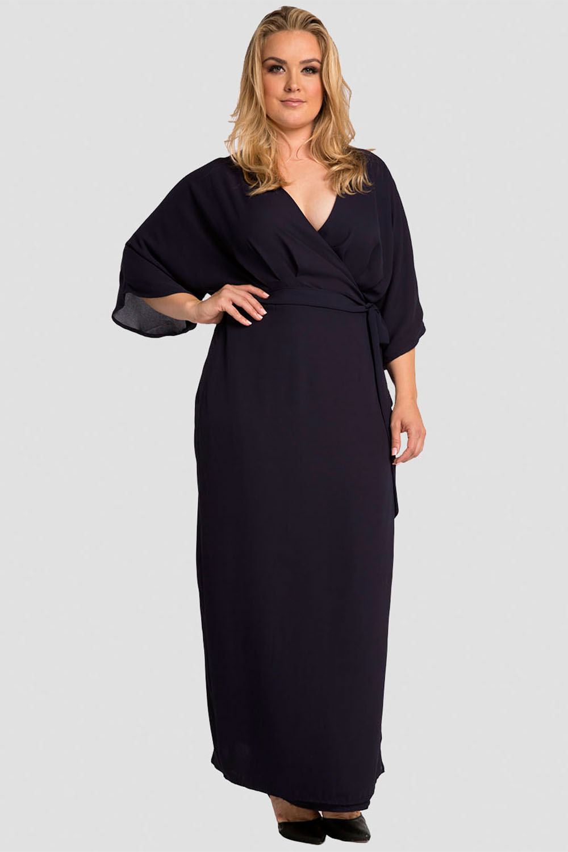 Plus Size Women's Olivia Wrap Dress (Midnight Blue) w/ Kimono Sleeve & Cinched Waist