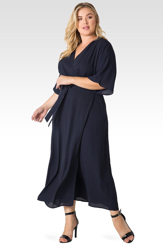 Plus Size Olivia Woven GGT Midnight Blue Kimono Wrap Maxi Dress