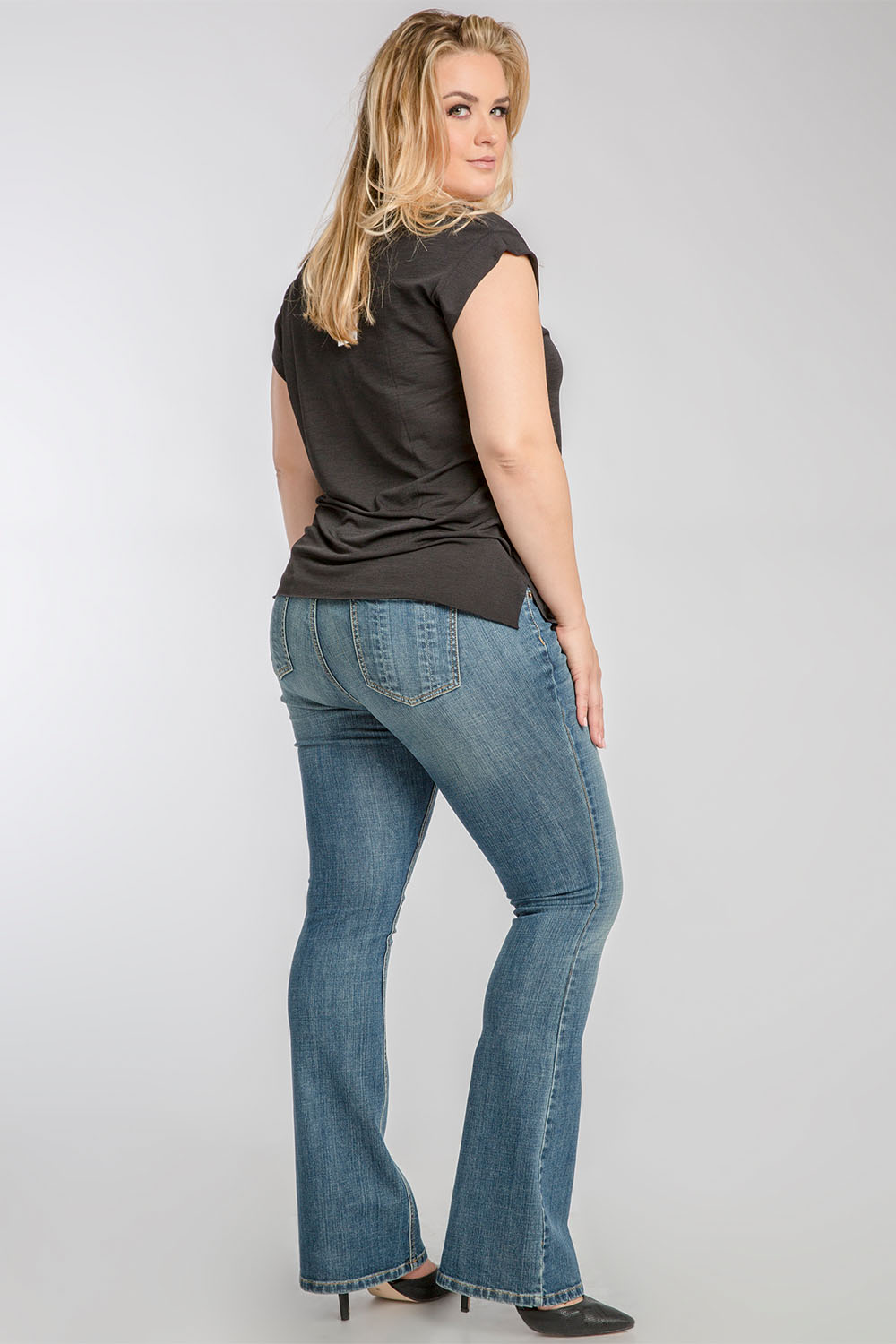 Plus Size Clarice Stretch Woven Blue Bone Midrise Bootcut Jeans