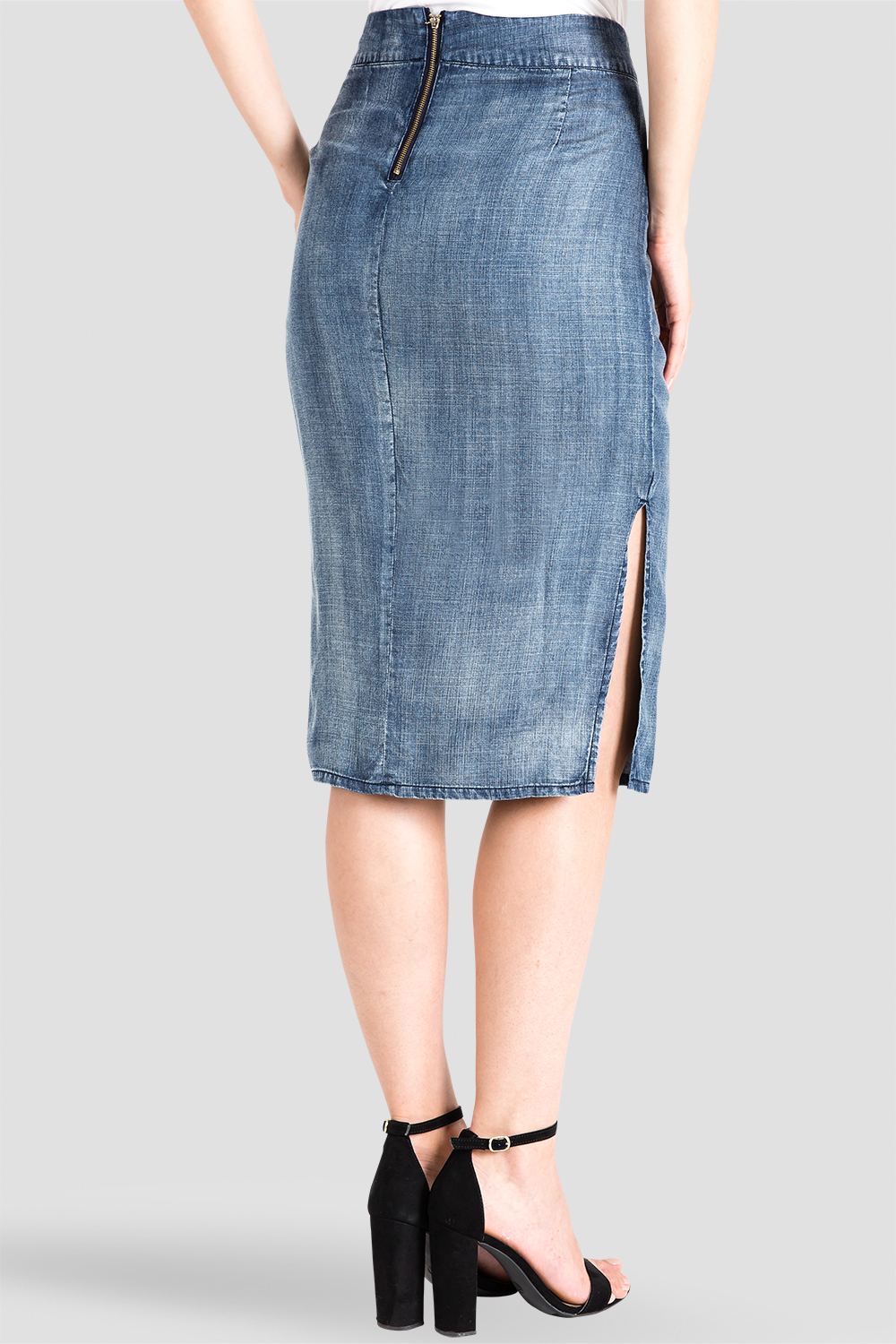 Standards & Practices High-Waist Tencel Chambray Pencil Skirt