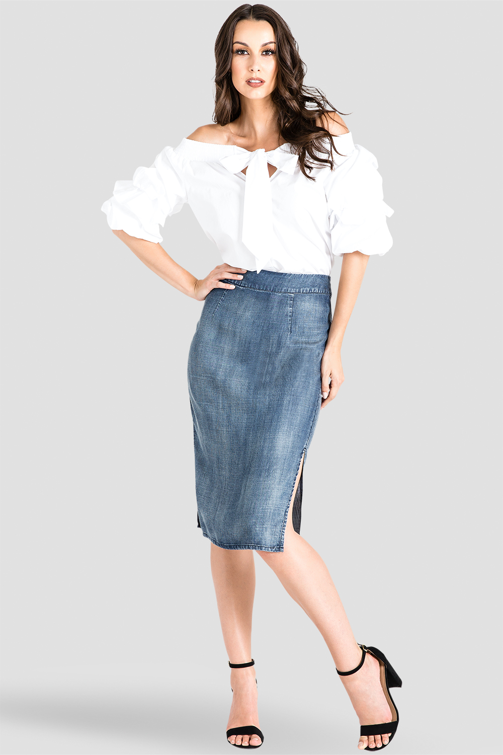 High-Waist Tencel Denim Pencil Skirt w/ Side Splits