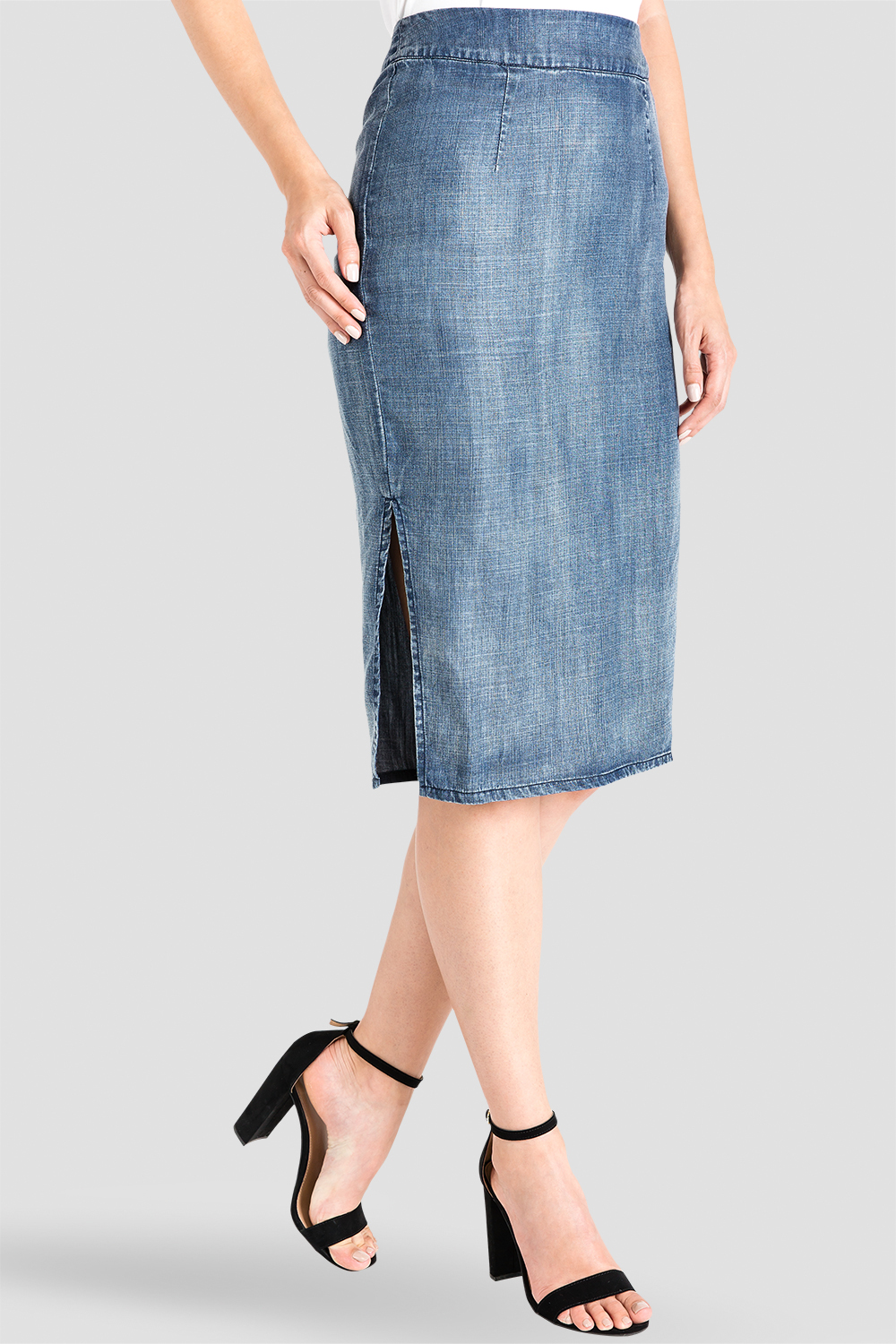 Standards & Practices Knee Length Tencel Denim Pencil Skirt