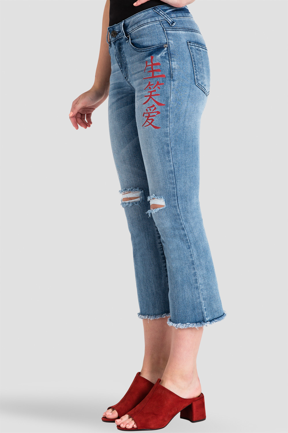 Jamie Chinese Character Women's Distressed Cropped Flare Jeans