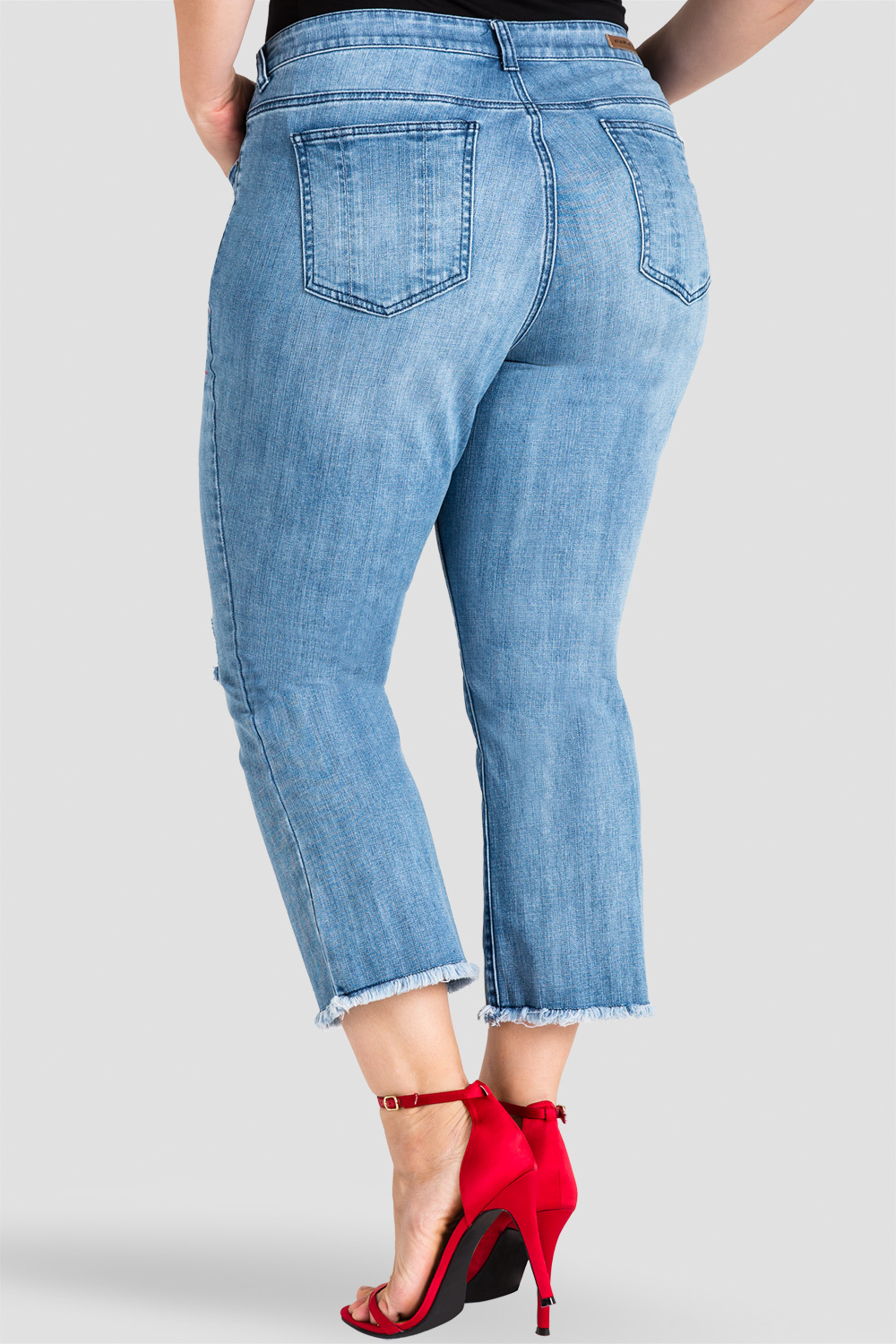 plus size ripped cropped flare jeans with chinese character screen print