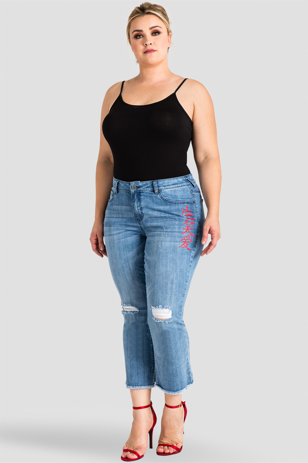 plus size destroyed cropped bootcut jeans with chinese characters