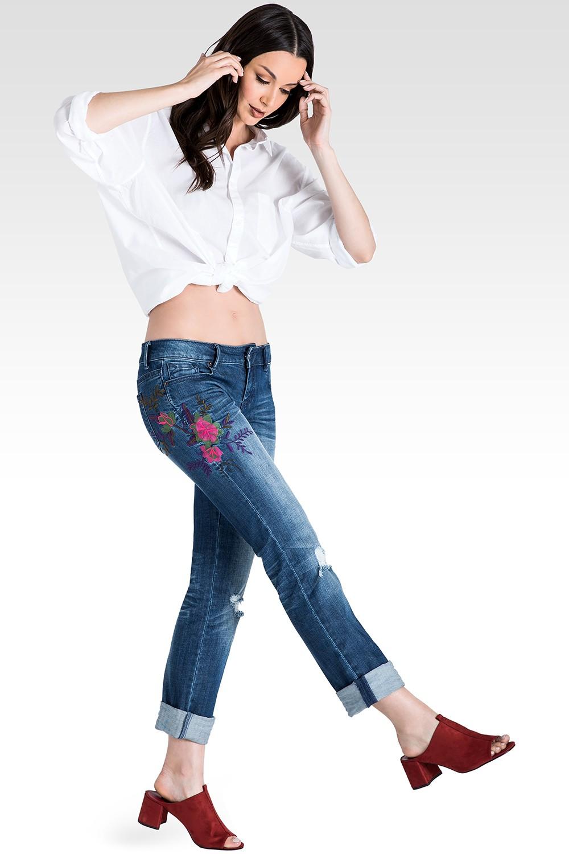 Women's Embroidered  Boyfriend Jeans in Distressed Denim