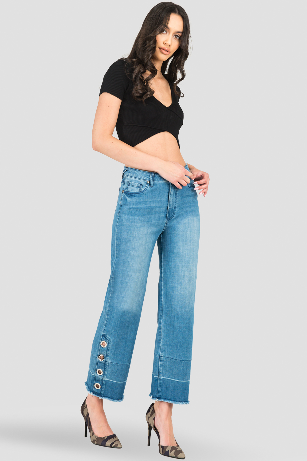 Standards & Practices High-Rise Light Wash Cropped Mom Jeans -Silver Grommets & Wide Released Hem