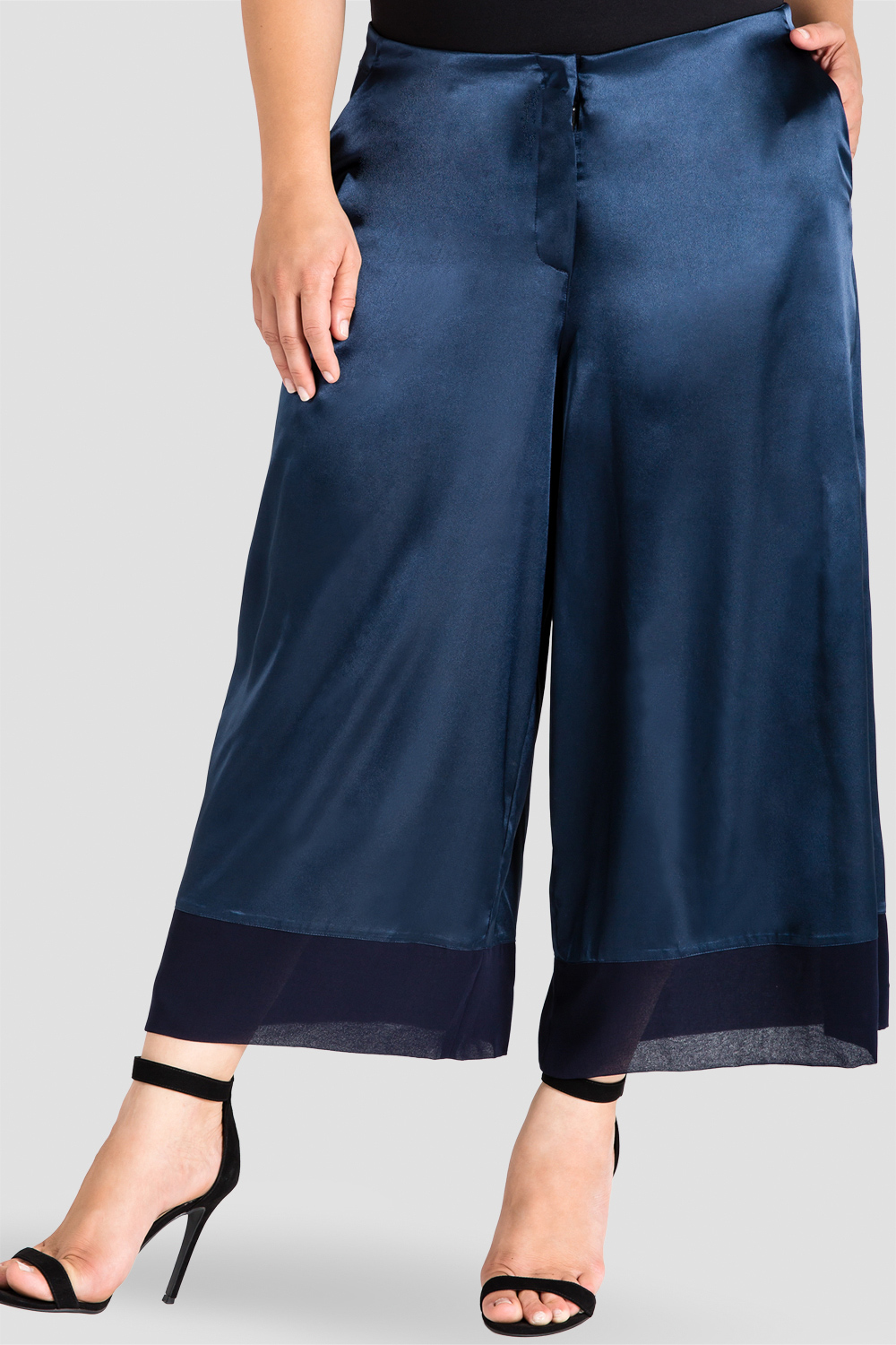 standards & practices sateen cropped pants midnight blue