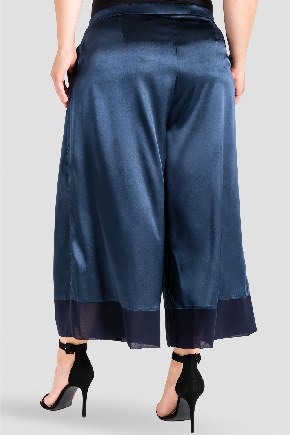 silky sateen pants midnight blue with sheer cuff