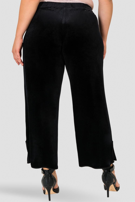 Standards & Practices Plus Size Stretch Velvet Crop Wide Leg Pant with Split Hem