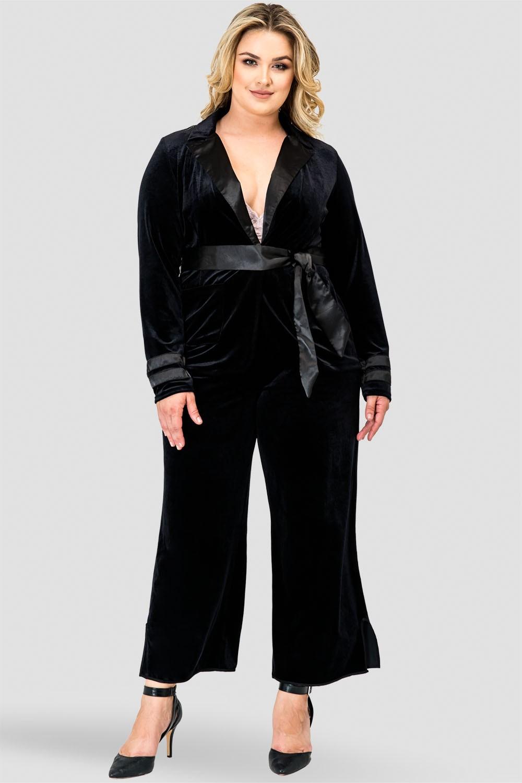 Plus Size Libby Black Stretch Velvet Cropped Side Split Wide Leg Pants