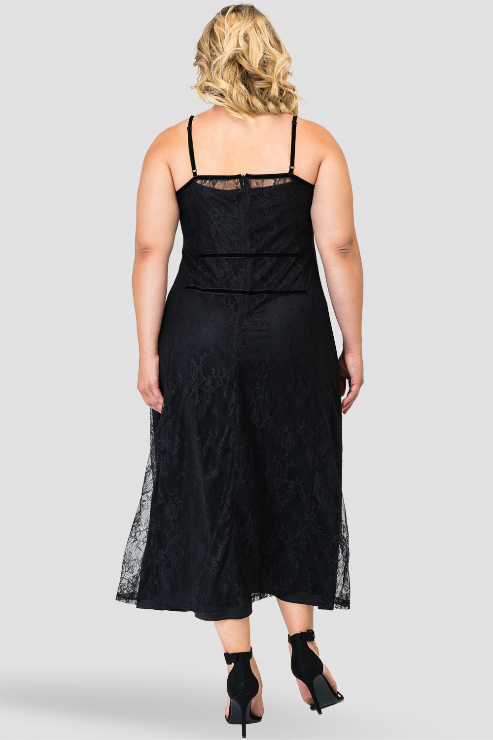 Standards & Practices Plus Size Lace Midi Tank Slip Dress with Liner