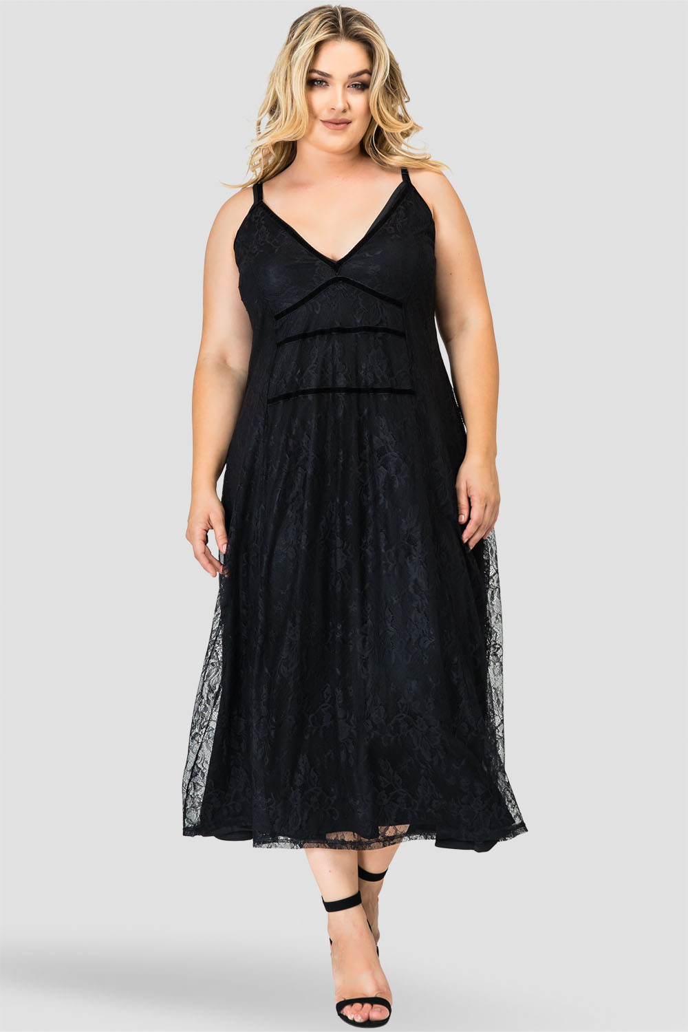 Plus Size Bethany Black Lace Tank A-Line Flounce Slip Dress with Liner