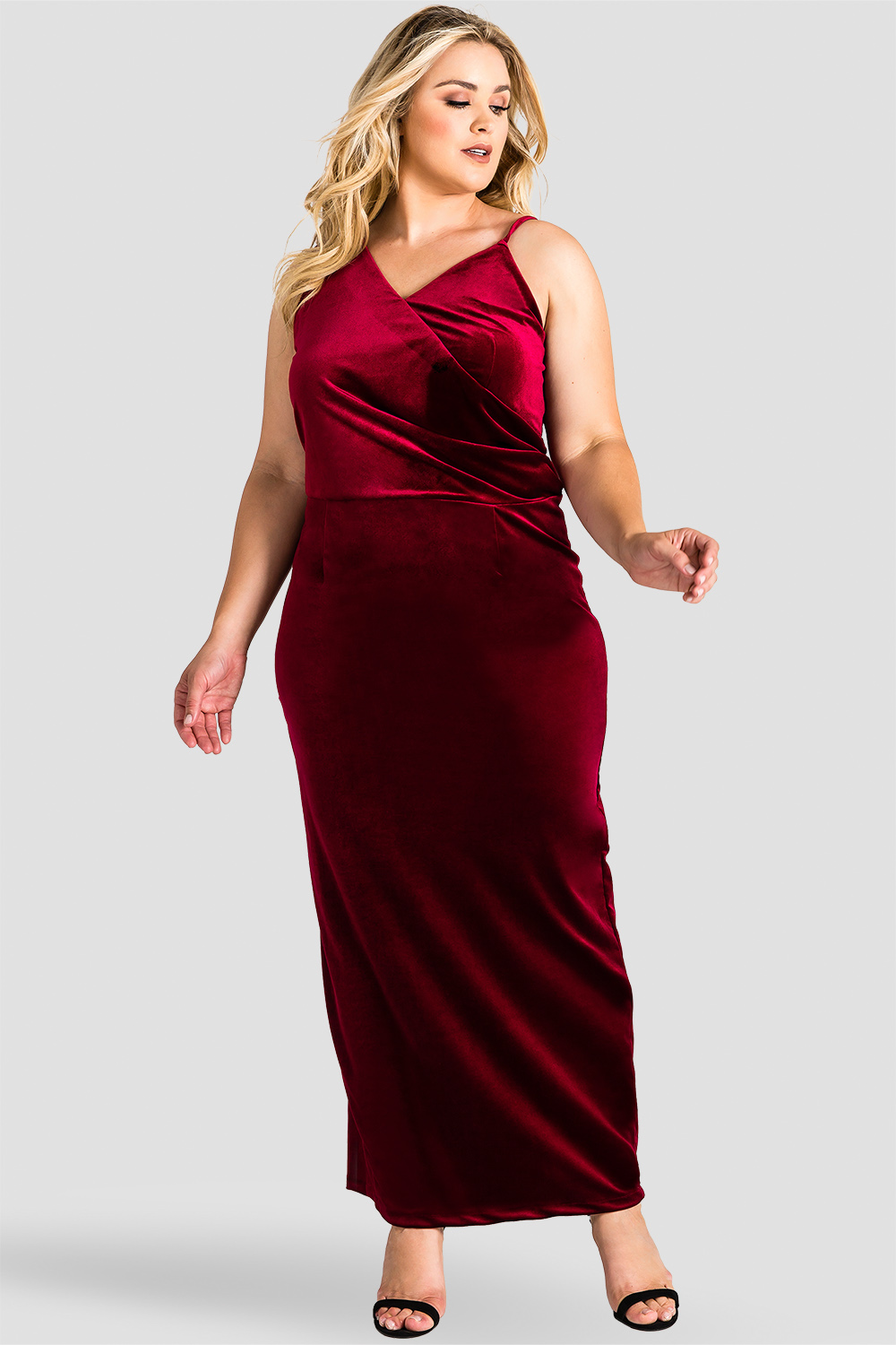 a7f48cbdab5 Standards   Practices Plus Size Burgundy Red Velvet Maxi Dress. Sale. now.  1 6