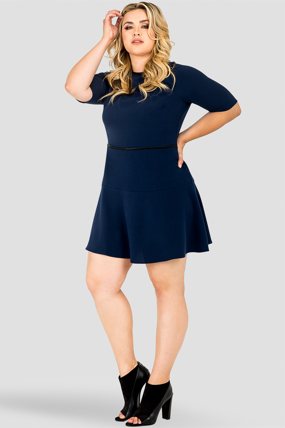 Standards & Practices Tina Navy/ Midnight Blue A-Line Suiting Mini Dress