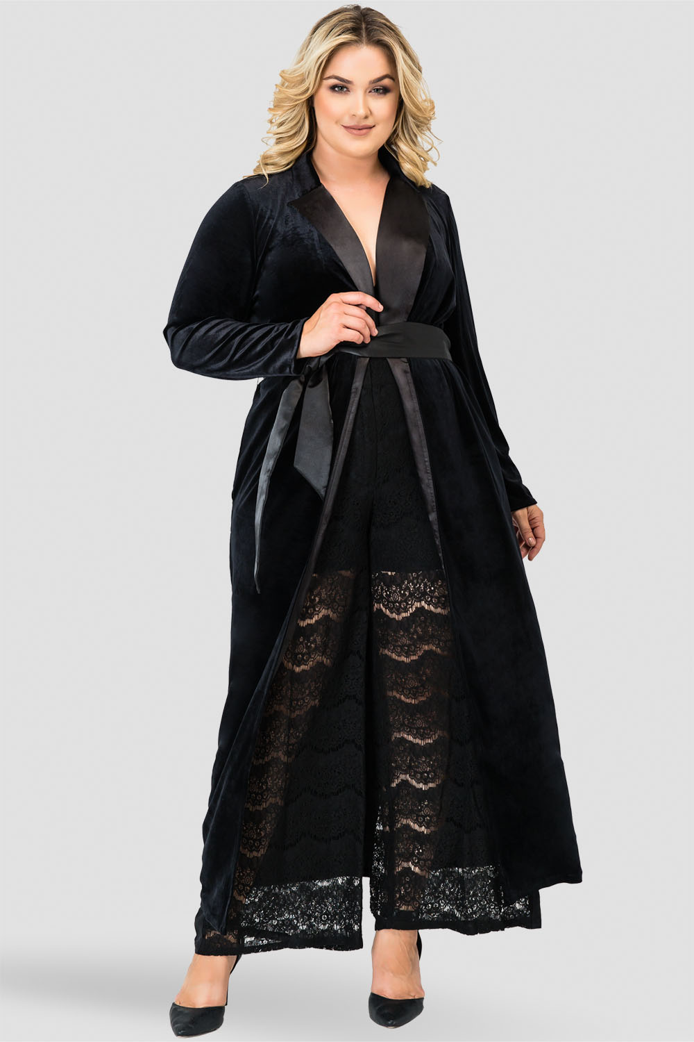 Standards & Practices Freya Stretch Velvet Wrap Midi Coat Dress with Satin Lapel & Satin Belt