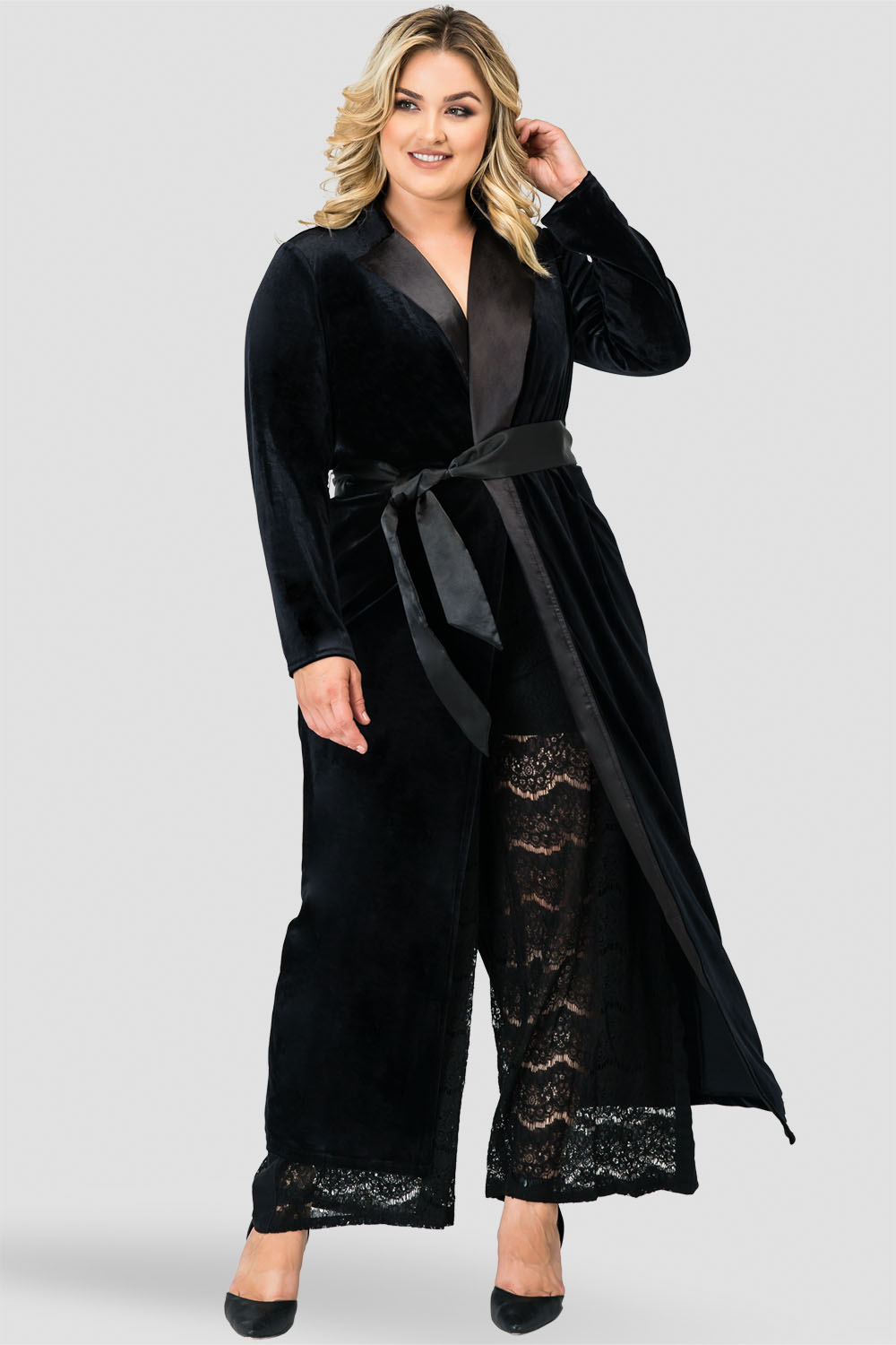 Plus Size Freya Black Stretch Velvet Wrap Midi Coat  Dress with Satin Lapel