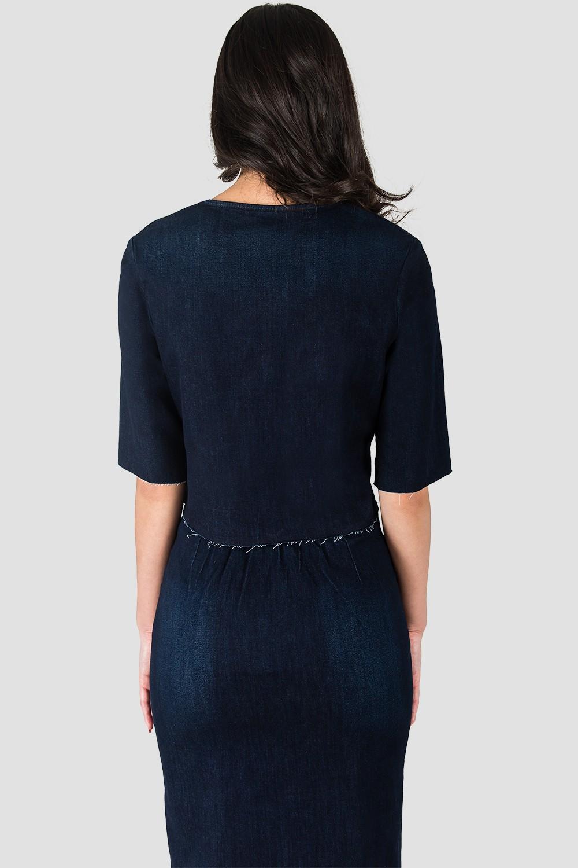 Elanse Frayed Hem Snap Button Cropped Collarless Indigo Denim Jacket