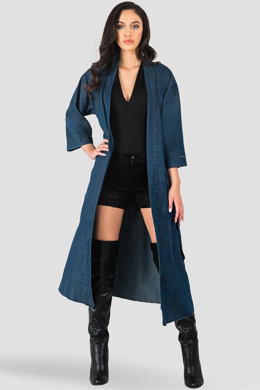 Kumiko Denim Bird Print Back Short Sleeve Kimono Duster Jacket