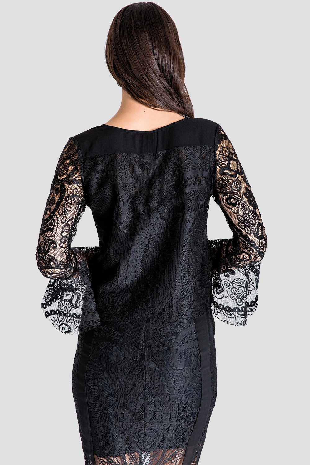 Black Lace Flare Sleeve Women's Blouse