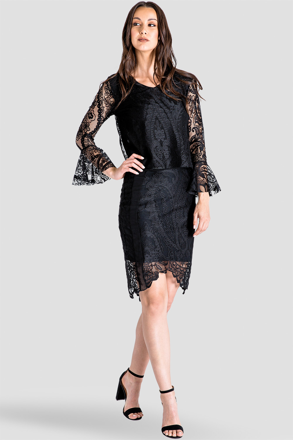 Black Lace Flare Sleeve Women's Top