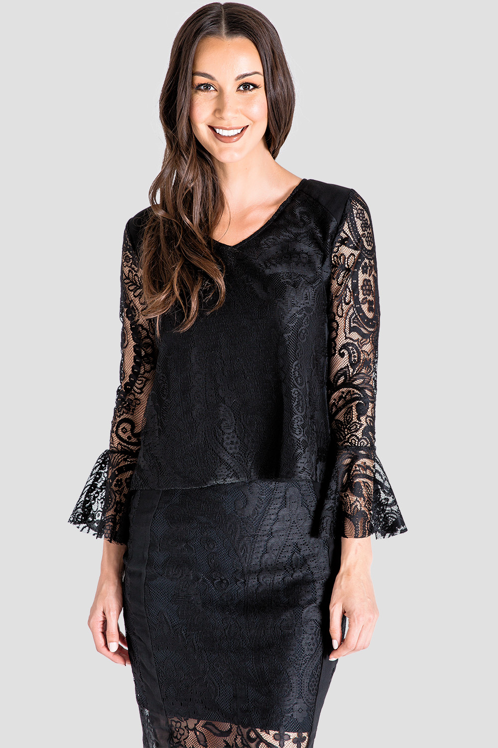 Women's Black Lace Flare Sleeve Top