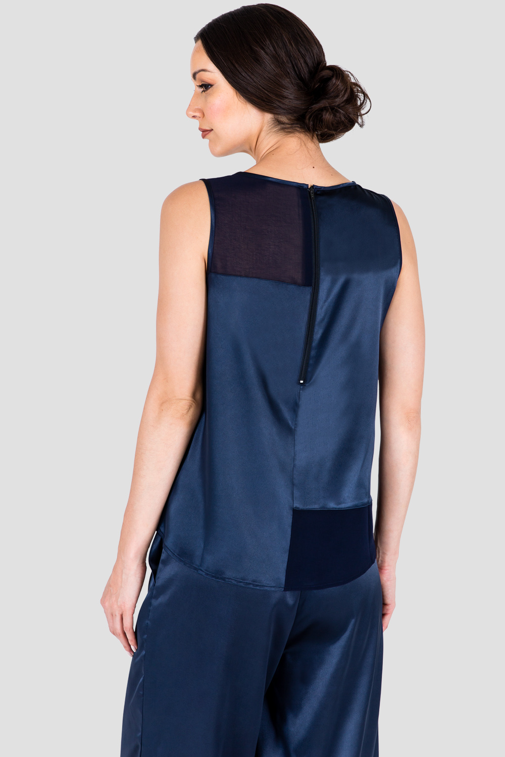 Women's Midnight Blue Sateen and Chiffon Sleeveless Top