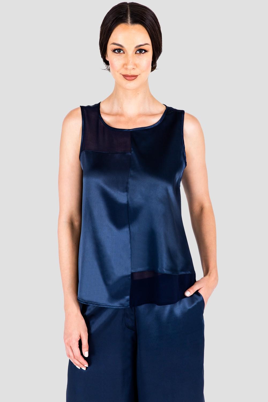 Jenny Midnight Blue Sateen and Chiffon Block Sleeveless Shirt Front
