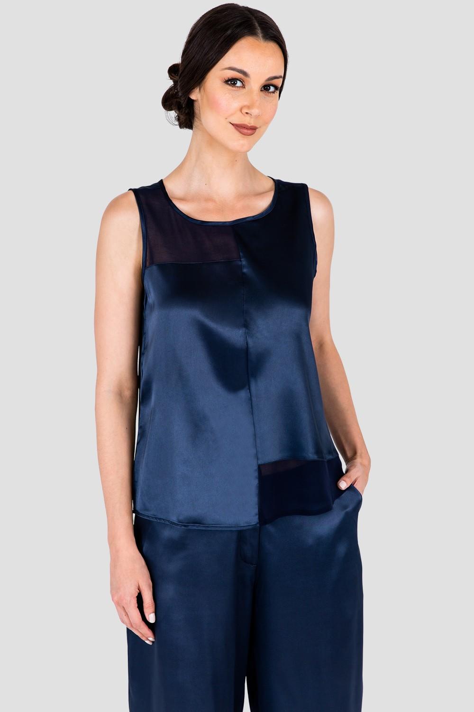 Women's Midnight Blue Sateen and Chiffon Sleeveless Shirt
