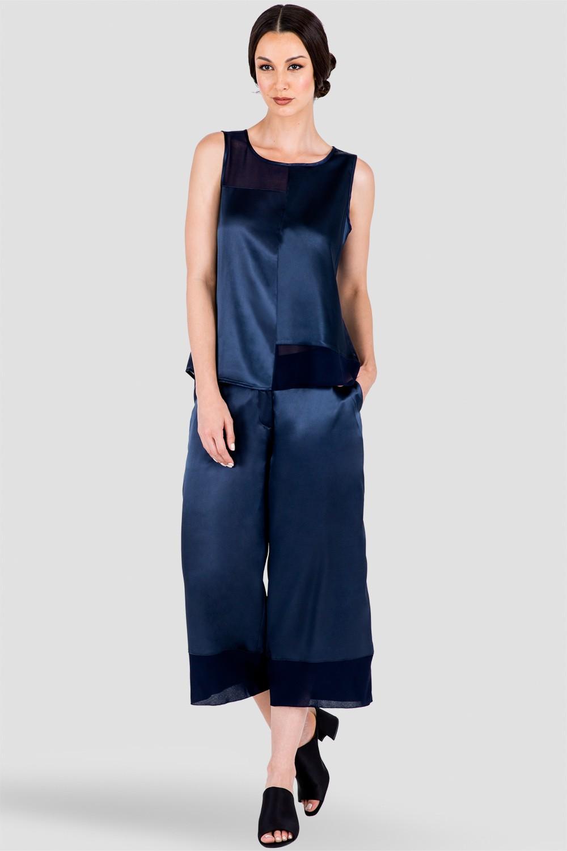 Women's Blue Sleeveless Top in Sateen and Chiffon