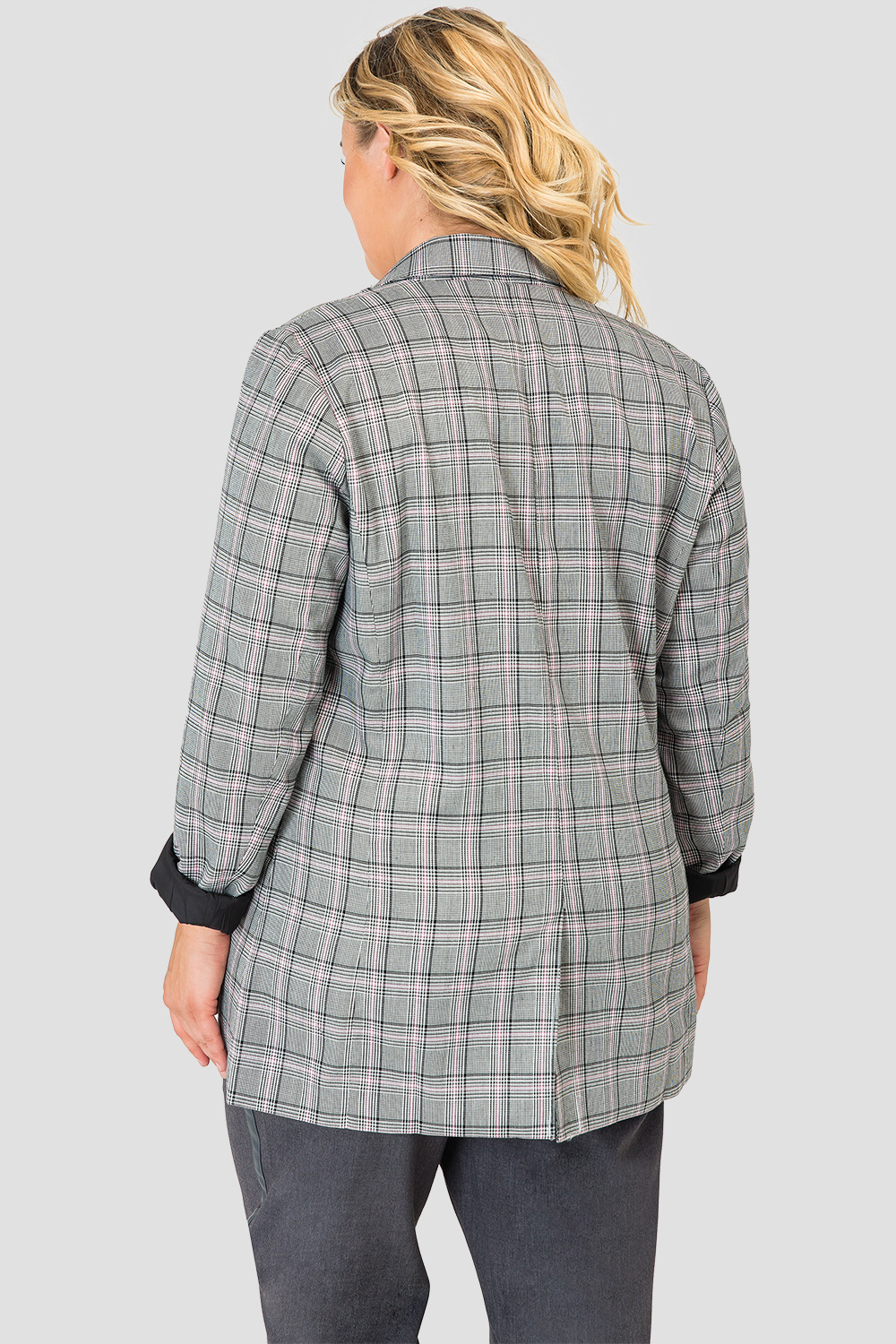 Plus Size Standards & Practices Plaid Blazer-back