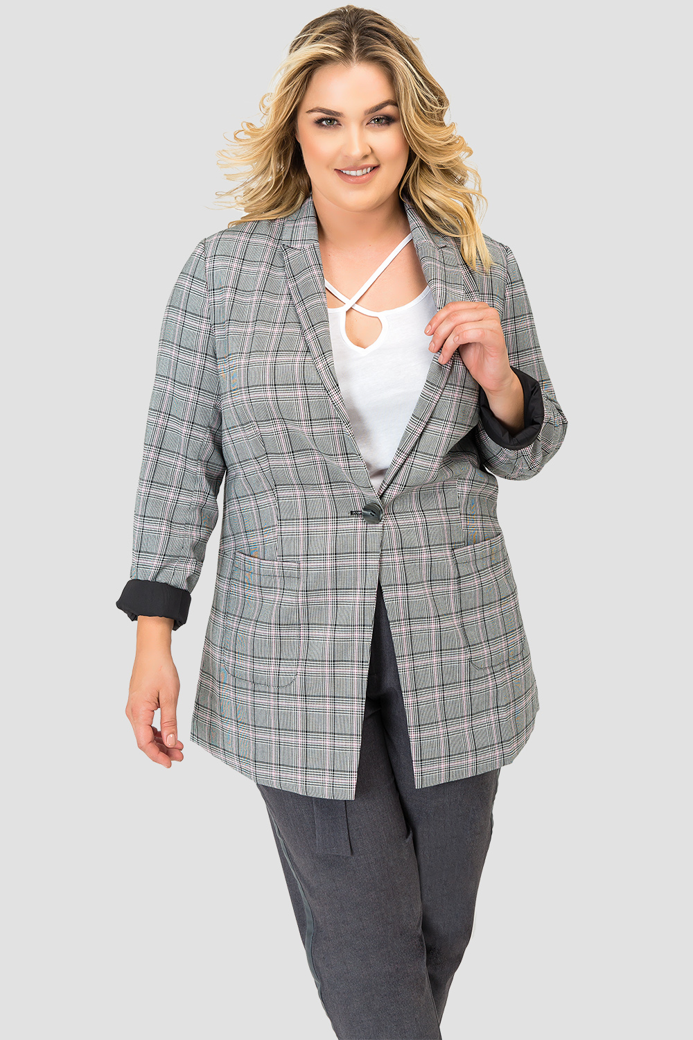 Plus Size Standards & Practices Plaid Blazer-front