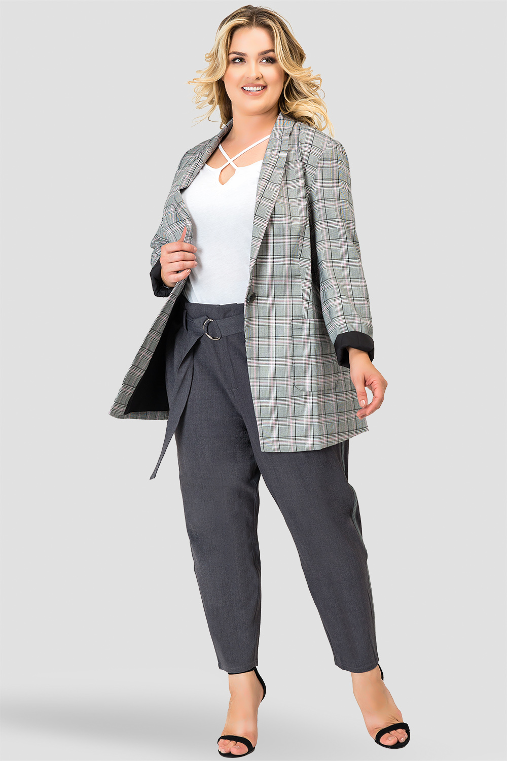 Plus Size Standards & Practices Plaid Blazer-full
