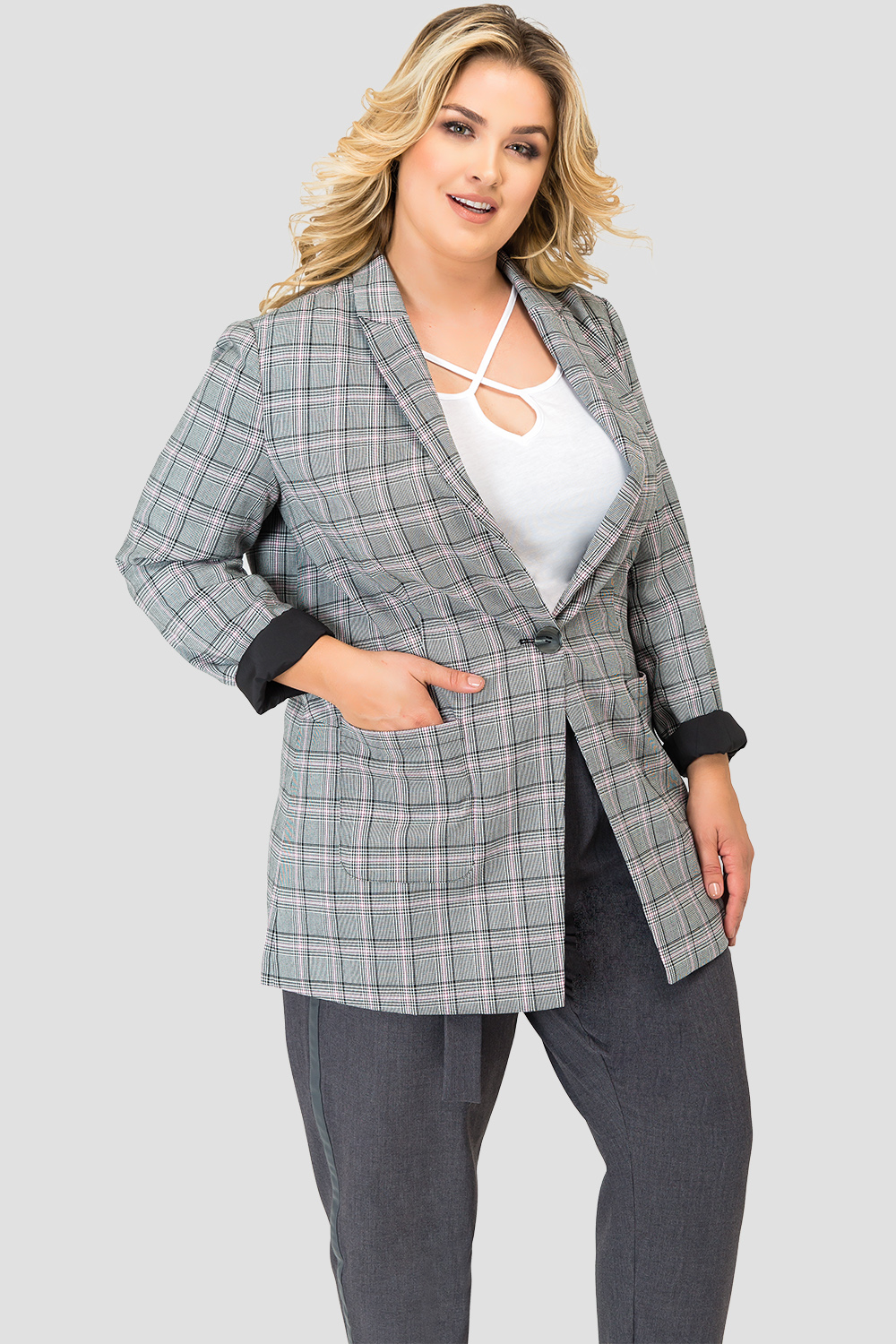 Plus Size Standards & Practices Plaid Blazer-detail