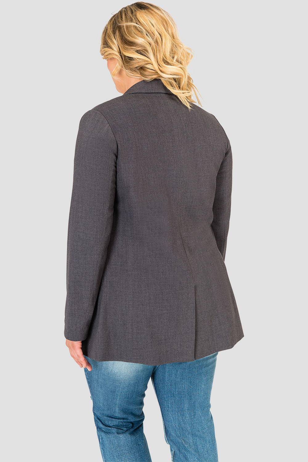Plus Size Standards & Practices Curvy Fit Plaid Gray Boyfriend Blazer